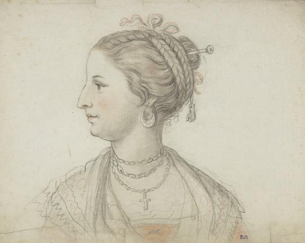 Profile Head of a Woman Wearing a Necklace (possibly Shirley Welsh, the Artist's Wife) (About 1760)