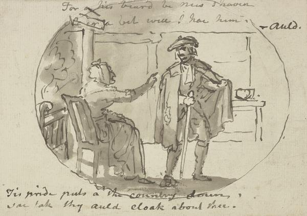 Illustration to the Poem 'Tak Your Auld Cloak About Ye'. An Old Woman Seated and a Man in a CLoak (About 1790)