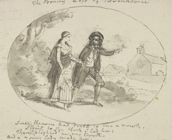 A Man Leading a Girl towards a Church - Illustration to the Poem 'The Bonny Lass of Branksome' from the Collection of 'Orpheus Caledonius' p. 78 (About 1790)
