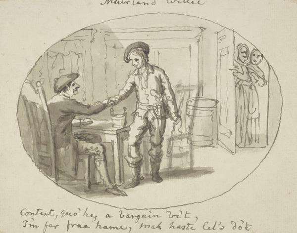 Two Men Shaking Hands - Illustration to the Poem 'Muirland WIllie' from Allan Ramsay's 'Tea Table Miscellany' 1724 (About 1790)