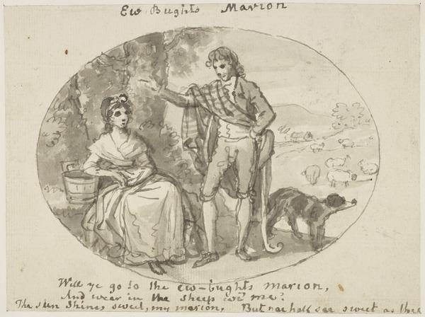 Illustration to Allan Ramsay's Poem 'Ew Buchts Marion'. A Shepherd in Conversation with a Milkmaid (About 1790)