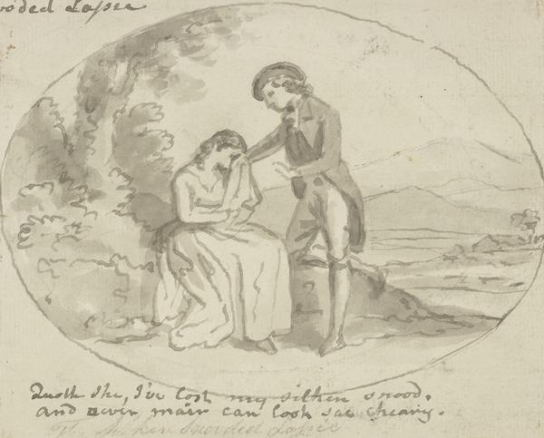 Illustration to the Poem 'The Silken Snooded Lassie'. A Man Consoling a Weeping Woman (About 1790)
