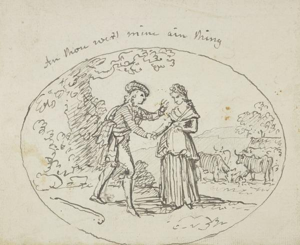 Shepherd and his Lass Holding Hands - Illustration to a Poem from Scottish Musical Museum Vol. I, No. 2 (recto); 'The Logie' (verso) (About 1790)