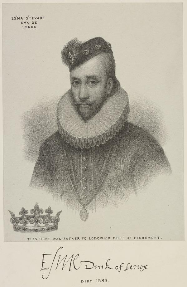 Esme Stewart, 1st Duke of Lennox, c 1542 - 1583. Favourite of James VI and I