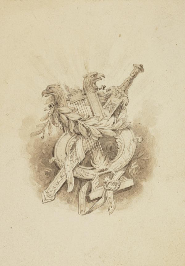 An Armorial Vignette of a Sword, Lyre and Wreath (One of Nine Studies for Illustrations to the works of Sir Walter Scott) (About 1840)