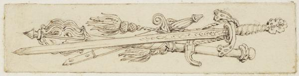 An Armorial Vignette of Three Swords (One of Nine Studies for Illustrations to the works of Sir Walter Scott) (About 1840)