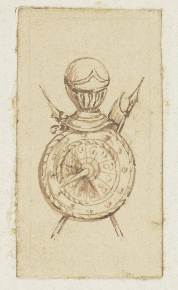 An Armorial Vignette of a Targe, Helmet and Spears (One of Nine Studies for Illustrations to the works of Sir Walter Scott) (About 1840)