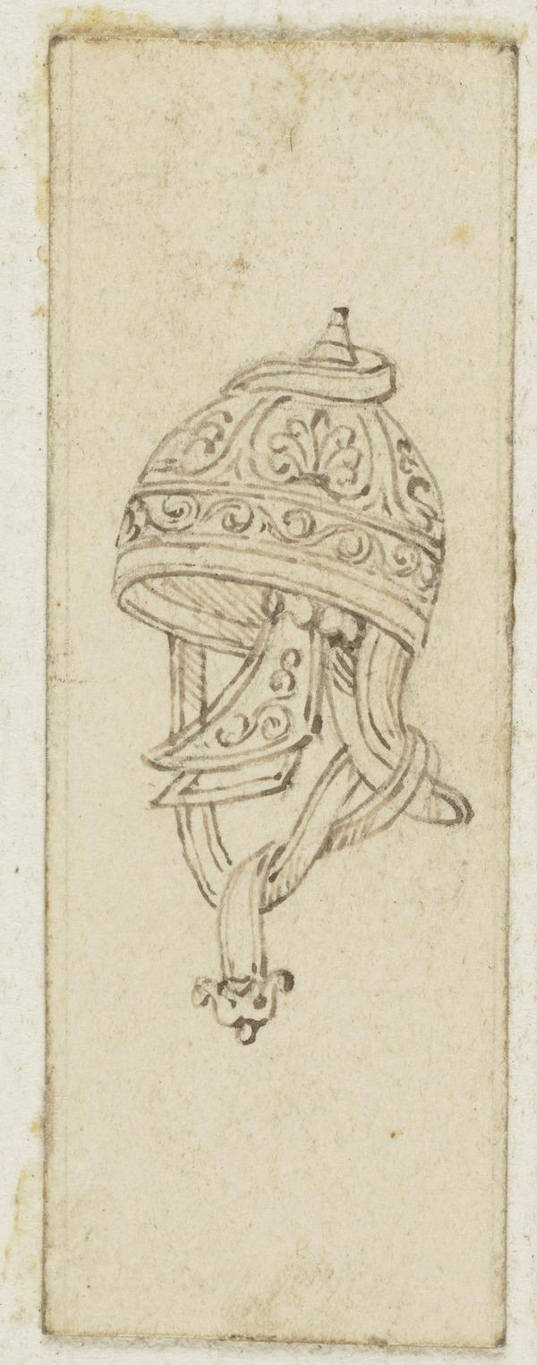 An Armorial Vignette of a Helmet (One of Nine Studies for Illustrations to the works of Sir Walter Scott) (About 1840)