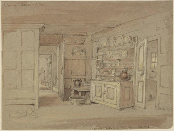 The Kitchen at Mossgiel Farm House, the Home of Robert Burns from 1784 to 1791 (About 1825)