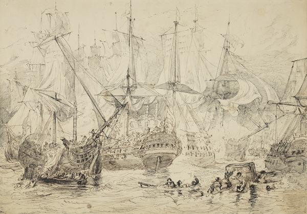 Compositional Study for the Painting 'Commodore Nelson Boarding the San Nicolas at the Battle of St Vincent, 14th February 1797' (About 1847)