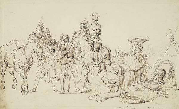 Battlefield Scene. Study for the Painting 'Heroism and Humanity. An Incident in the Life of Robert the Bruce' (About 1840)