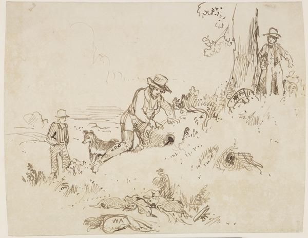 Three Men and a Dog Ferreting for Rabbits (About 1830)