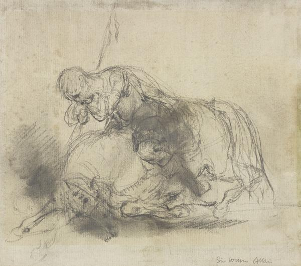 A Warrior on a Fallen Horse [Verso: Slight Sketch] (About 1845)