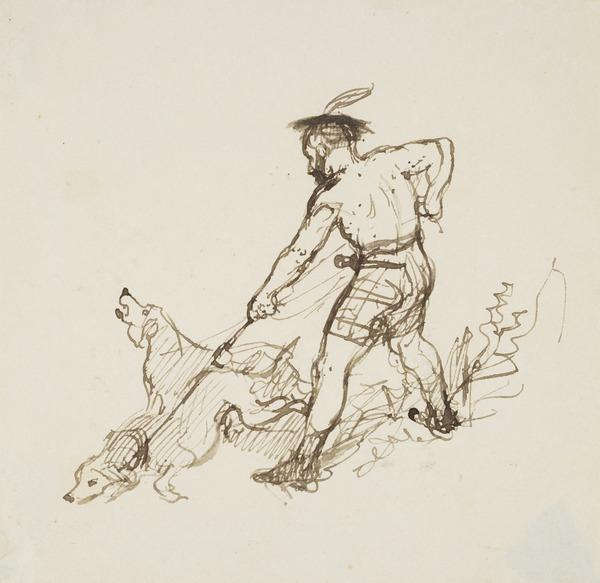 A Man Holding Two Dogs on a Leash (About 1830)
