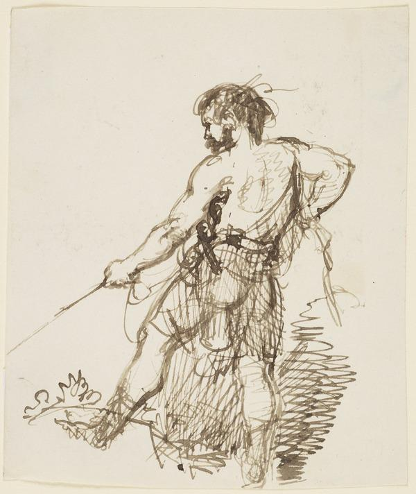 A Hunter Holding a Leash (About 1830)