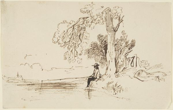 An Angler Seated under a Tree (About 1830)