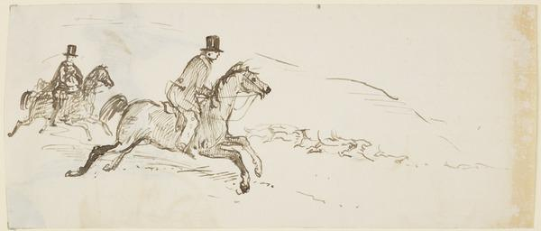 Two Huntsmen on Horseback Following a Pack of Hounds [Verso: Huntsman Firing at a Hare] (About 1830)