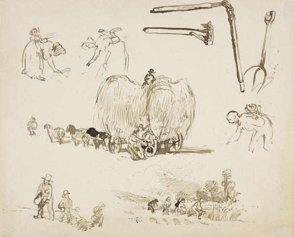Five Sketches of Harvesters, Gleaners, Reapers, a Haywain, a Flail, a Rake, a Pitchfork (About 1830)