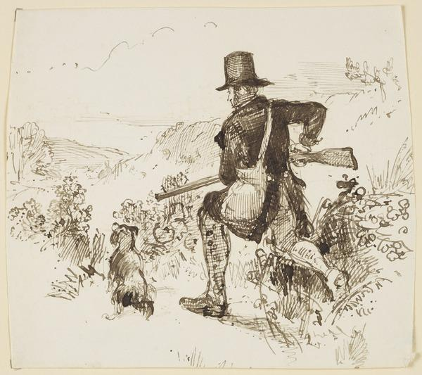 A Hunter with Gun and Retriever Watching a Falling Bird (About 1830)