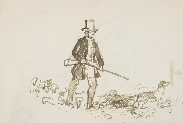 A Hunter with Gun and Retriever (About 1830)