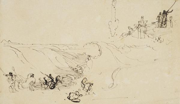 Compositional Study for 'Moses Commanding the Red Sea to Drown the Egyptian Army' (About 1830)