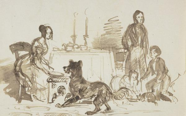 A Family with a Cat and a Dog [Verso: A Dog and Part of a Female Figure] (About 1830)