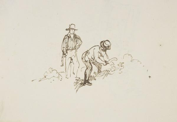 Two Men Working with Sickles [Verso: Children Climbing a Style] (About 1830)
