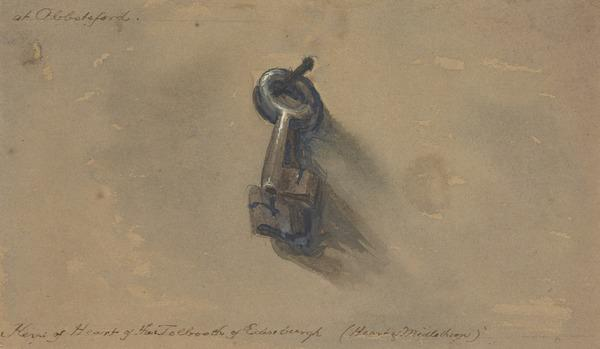 The Keys of the Old Edinburgh Tolbooth, Presented, with the Tolbooth Doorway, to Sir Walter Scott and Taken to Abbotsford in 1817 (About 1832)
