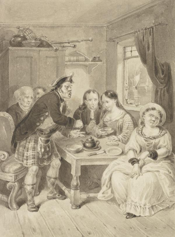 Illustration to Sir Walter Scott's 'The Heart of Midlothian'. Captain Knockdunder Breakfasting at Knocktarlitie (About 1820)