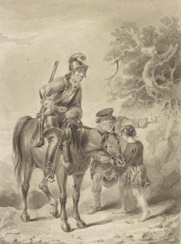 Illustration to Sir Walter Scott's 'The Legend of Montrose'. Captain Dalgetty Consigns his Charger, Gustavus, to the Children of the Mist (About 1820)