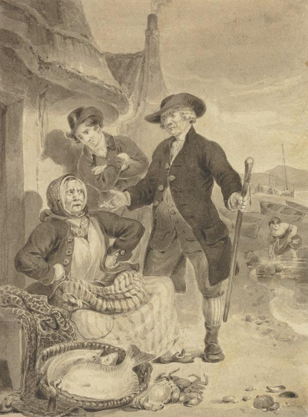 Illustration to Sir Walter Scott's 'The Antiquary'. The Antiquary Buying Fish from Mrs Mucklebackit (About 1820)