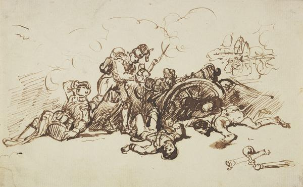 Batle Scene with Wounded Soldiers in a Redoubt with a Cannon. Possibly a Study for the Painting 'After the Battle' (About 1845)
