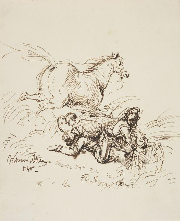 Battle Scene with Wounded Soldiers and an Escaping Horse. Possibly a Study for the Painting 'After the Battle' (Dated 1845)