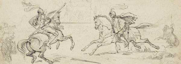 Knights Jousting at a Tournament (One of Nine Studies for Illustrations to the works of Sir Walter Scott) (About 1840)