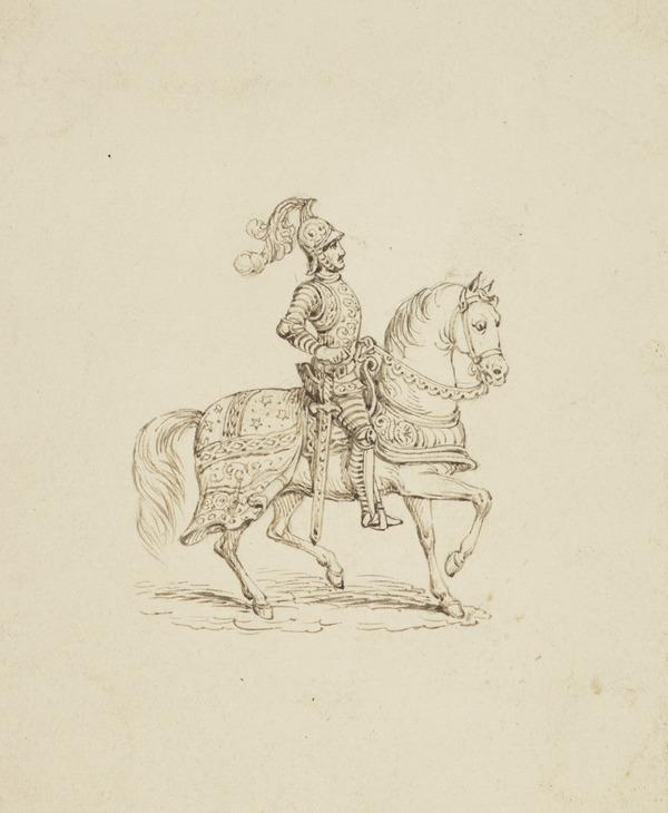 A Knight on Horseback (One of Nine Studies for Illustrations to the works of Sir Walter Scott) (About 1840)