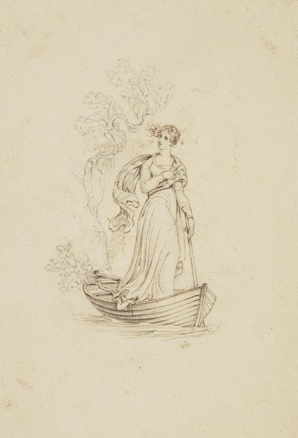 A Girl Standing in a Boat (One of Nine Studies for Illustrations to the works of Sir Walter Scott) (About 1840)