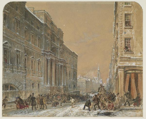 Snowballing Outside Edinburgh University (Dated 1853)