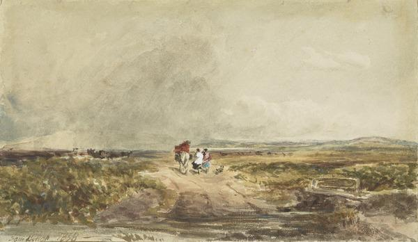 A Moorland Landscape with Figures (Dated 1858)