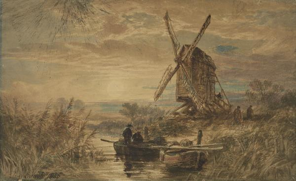 An Old Windmill, Moonlight (Dated 1856)