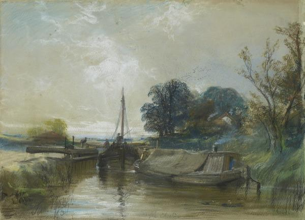 Marple - Cheshire. A Lock with a Boat and a Barge (Dated 1851 (?))