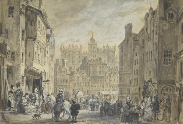 View of Heriot's Hospital and the Grassmarket from the Foot of the West Bow, Edinburgh