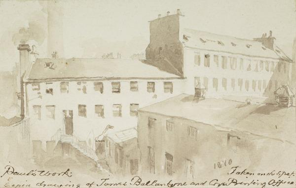 View of Paul's Work, Canongate, Edinburgh, the Printing Works of James Ballantyne (Dated 1810)