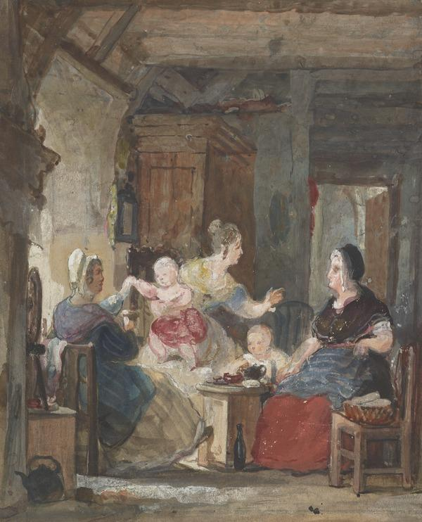 The Gossips (A Cottage Interior with Three Women Gossiping and Two Children) (About 1835)