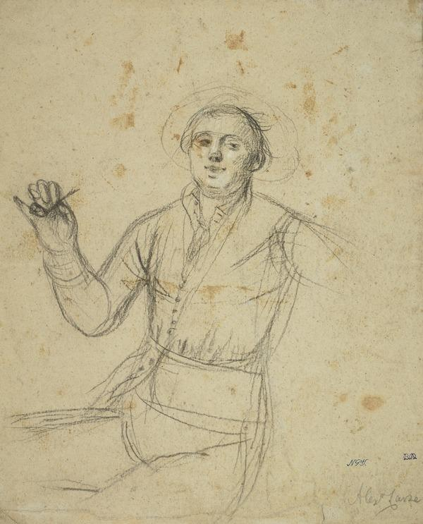 A Man Holding a Pipe [Verso: A Sailing Boat]