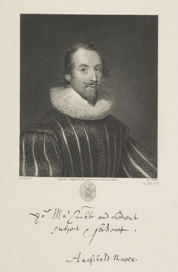 Sir Archibald Napier, 1st Lord Napier, 1576 - 1645. Extraordinary Lord of Session