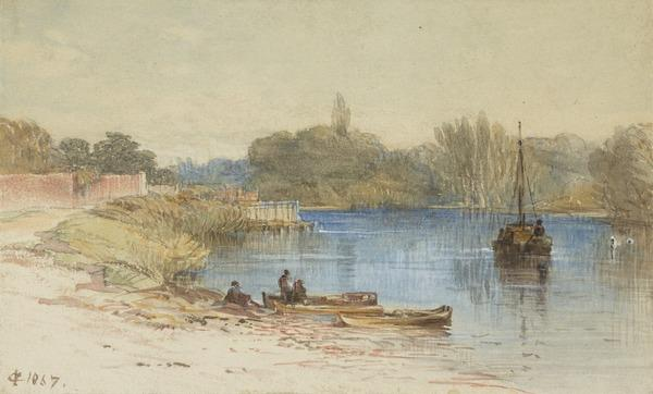 On the Thames near Hampton Court (Dated 1867)
