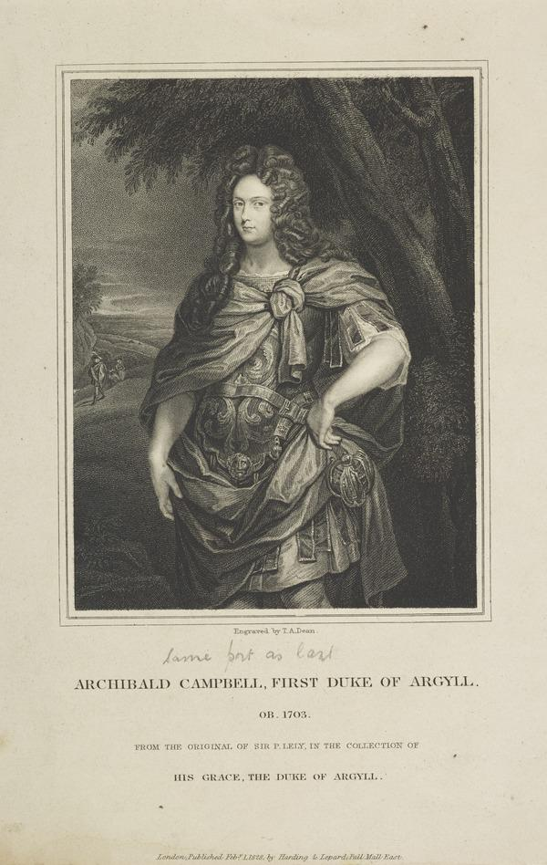 Archibald Campbell, 1st Duke of Argyll, d. 1703. Extraordinary Lord of Session (Published 1828)