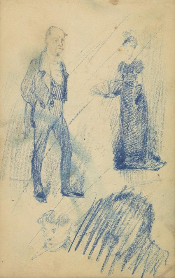 Sketches of Two Figures [Verso: A Horse]