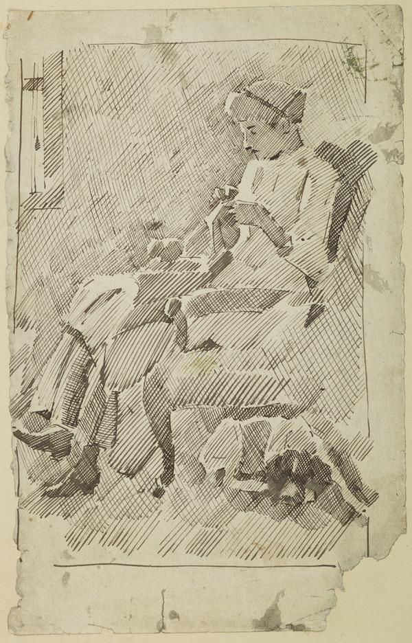 Lady in a Chair Sewing