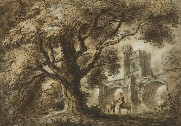 Landscape with a Large Tree and a Castellated Bridge, Two Horses and a Rider in the Foreground